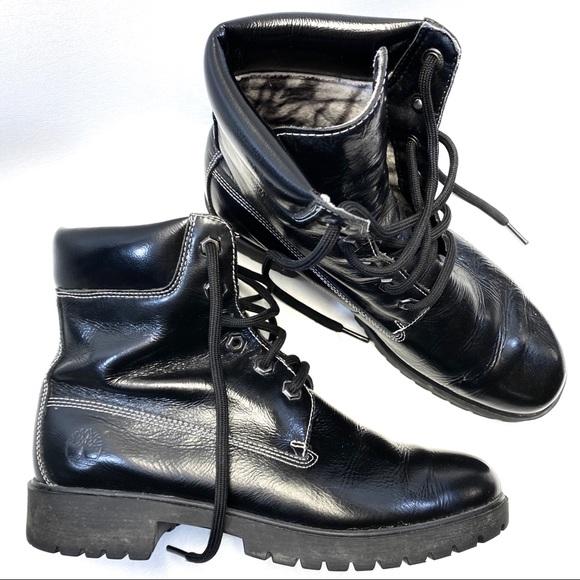 "Timberland Combat Moto Black Leather 6"""